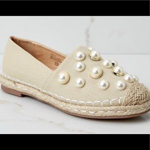Shoes - Pearl studded espadrille 7.5 Nude loafer